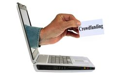 Online crowdfunding concept stock images