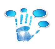 Hand and communication bubbles illustration Stock Photography
