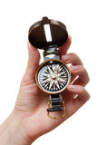 Hand with a compass Royalty Free Stock Photo