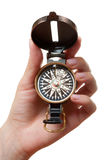 Hand with a compass Royalty Free Stock Image
