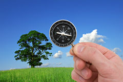 Hand with compass on nature background. Royalty Free Stock Photos