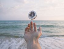 Hand with compass. Stock Image