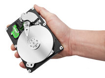 Hand and computer hard drive isolated on white background Stock Images