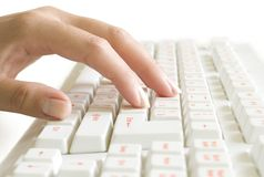 Hand on the computer keyboard Royalty Free Stock Photography