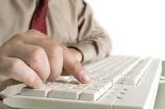 Hand on the computer keyboard Stock Image