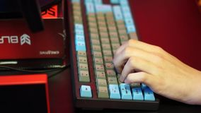 Hand on the computer keyboard stock footage