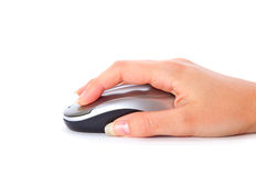 Hand with computer mouse. Isolated on white background royalty free stock images