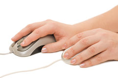 Hand with a computer mouse Stock Photography
