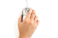 Hand with computer mouse. On white background Stock Images