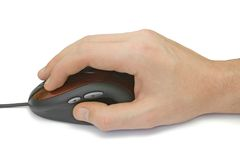 Hand with computer mouse Stock Images