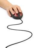 Hand and computer mouse Stock Images