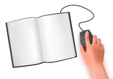 Hand with computer mouse and book  a Royalty Free Stock Photography