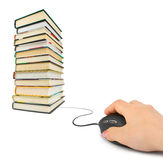 Hand with computer mouse and books. E-learning concept stock images