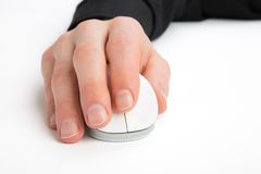 Hand on a Computer Mouse Stock Photo