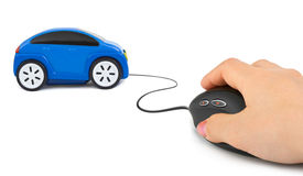 Hand with computer mouse and car Stock Photography