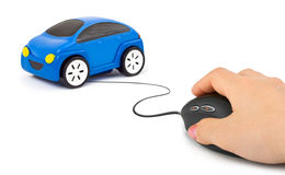 Hand with computer mouse and car Royalty Free Stock Image