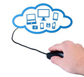 Hand with computer mouse cloud-computing concept. Royalty Free Stock Image