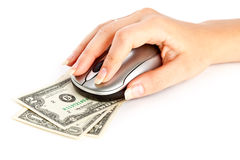 Hand with computer mouse on dollars bill Stock Image