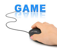 Hand with computer mouse and Game Stock Photography