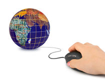 Hand with computer mouse and globe Royalty Free Stock Image