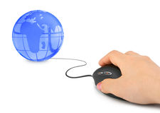 Hand with computer mouse and globe Stock Images