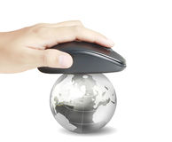 Hand with computer mouse and globe Royalty Free Stock Photos