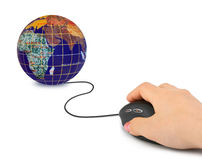 Hand with computer mouse and globe Stock Image