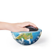 Hand with computer mouse and globe Royalty Free Stock Photo