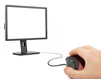 Hand with computer mouse and monitor Royalty Free Stock Photos