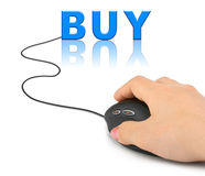Hand with computer mouse and word Buy Stock Image