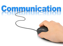 Hand with computer mouse and word Communication. Technology concept royalty free illustration