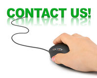 Hand with computer mouse and word contact us Royalty Free Stock Images
