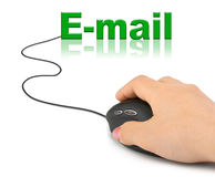 Hand with computer mouse and word E-mail Stock Images