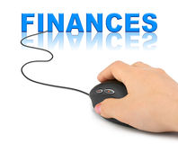 Hand with computer mouse and word Finances Royalty Free Stock Photos