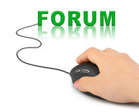 Hand with computer mouse and word Forum Royalty Free Stock Photos