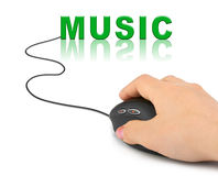 Hand with computer mouse and word Music. Internet concept Royalty Free Stock Image