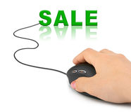 Hand with computer mouse and word Sale Stock Photography