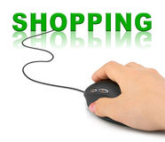 Hand with computer mouse and word Shopping Royalty Free Stock Image