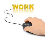 Hand with computer mouse and word Work Stock Image