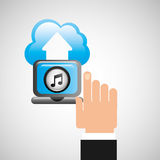 Hand computer player upload cloud music note. Vector illustration eps 10 Royalty Free Stock Photo