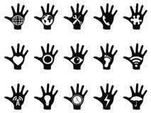 Hand concept icons set Stock Image