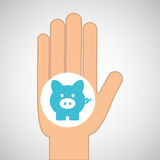 Hand concept save money piggy. Vector illustration eps 10 Royalty Free Stock Photography