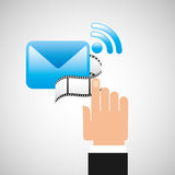 Hand connection email film graphic. Vector illustration eps 10 Stock Photo