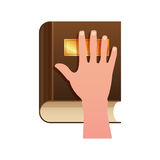 Hand on Constitution as Oath Concept Icon Stock Photo
