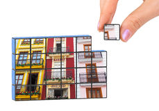Hand and construction architecture (my photo) puzzle Stock Image