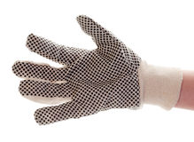 Hand in the construction glove Stock Photos