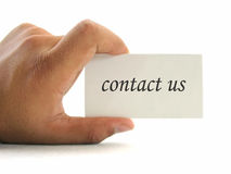 Hand and contact card Royalty Free Stock Images