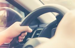 Hand control with auto part of vehicle. Modern car steering wheel of transportation Royalty Free Stock Photo