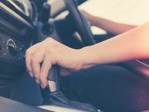 Hand control with auto part of vehicle. Modern car steering wheel of transportation Royalty Free Stock Images
