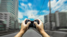 hand control car with game controler Stock Photos